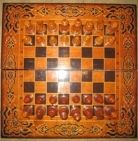 Large luxurious carved wooden lacquered chessboard and heavyweight board - ART P-4