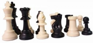 Staunton plastic chess with weighting agent